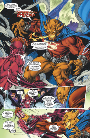 Comic Book Panel of the Flash (Wally West) fighting Super Etrican