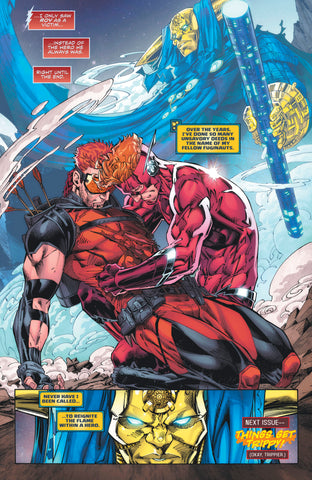 Comic Book Panel of Wally West holding Roy Harper