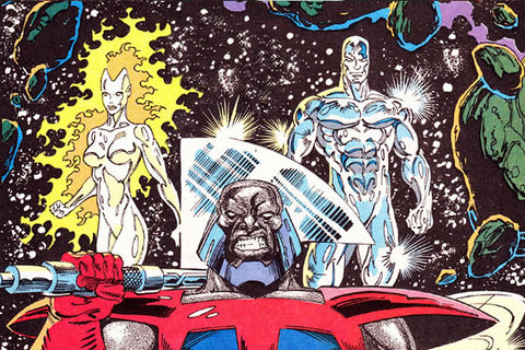 image of a comic book panel with the silver surfer from Marvel Comics - Animated Apparel Company