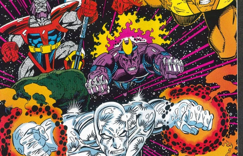 Image of the Silver Surfer soaring through space with a few companions by Marvel Comics - Animated Apparel Company