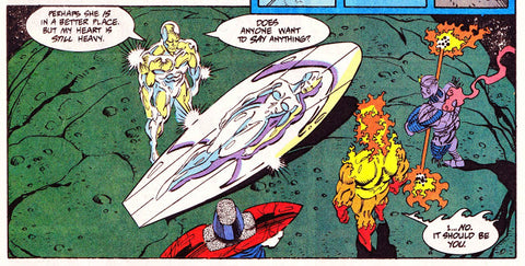 Image of the Silver Surfer restraining someone on his board by Marvel Comics - Animated Apparel Company