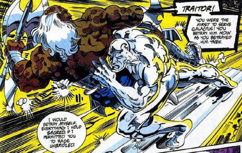 Image of a Comic Book panel with the Silver Surfer fighting by Marvel Comics - Animated Apparel Company