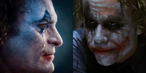 Joaquin Phoenix Joker side by side comparison of Heath Ledger's Joker.