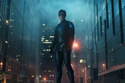 Dick Grayson in his Nightwing costume from Titans Season 2 Finale