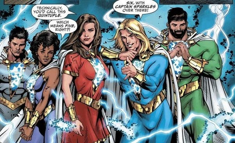 Comic book panel of the Shazam Family