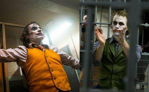 Image of Joaquin Phoenix Joker, and Heath Ledger's Joker