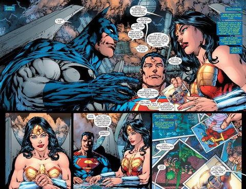 Comic book Panel from the Tornado's Path of the Justice league members Batman, Wonder Woman, and Superman