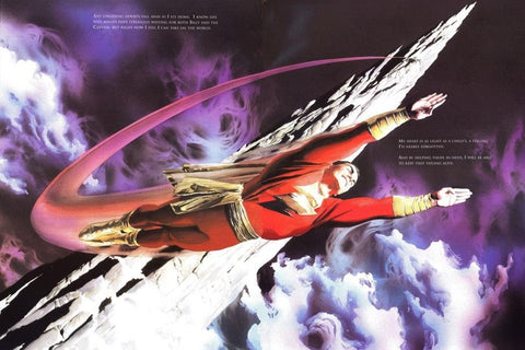 Comic book image of Shazam soaring through the air