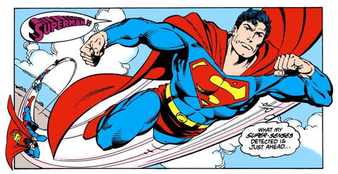 Superman Soaring through the skies in this panel by DC Comics
