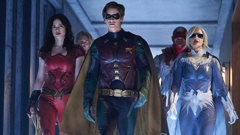 Image of the Titans from the DC Universe TV Show. The Image includes Wonder Girl, Dick Grayson, and Hawk and Dove.