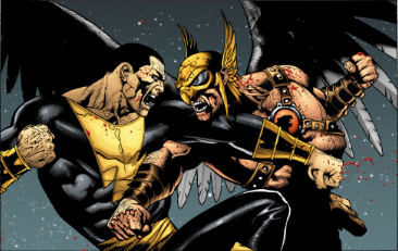Black Adam fights members of the Justice Society of America. Here, Black Adam and Hawkman trade punches in the DC Comics story line Dark Ages