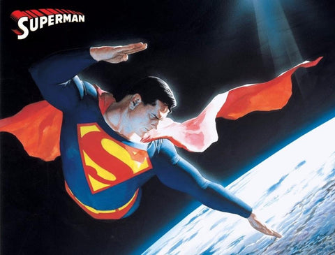 Superman from DC Comics. He is shown here soaring through space.