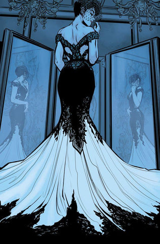 Comic Book Image of Selina Kyle aka Catwoman in a Dress in front of mirror's