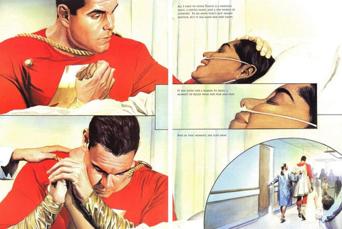 Comic book Panel of Shazam comforting someone in the hospital.