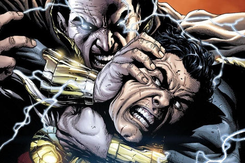 Comic book panel of Black Adam fighting Shazam