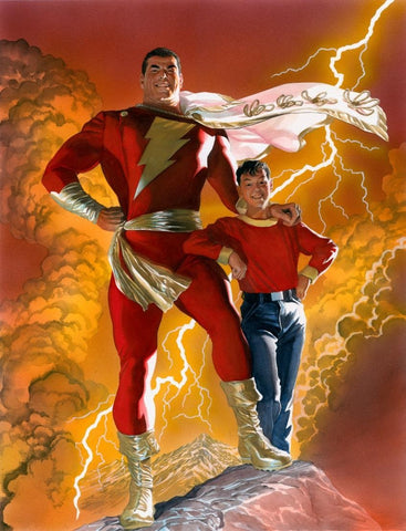 Comic book image of Shazam standing next to Billy Batson