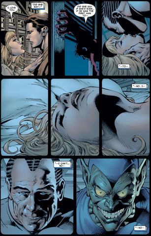 Image of comic book panel of Gwen Stacy's affair with Norman Osbourne