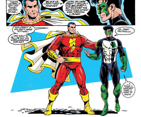 Comic book panel of Shazam speaking with Green Lantern