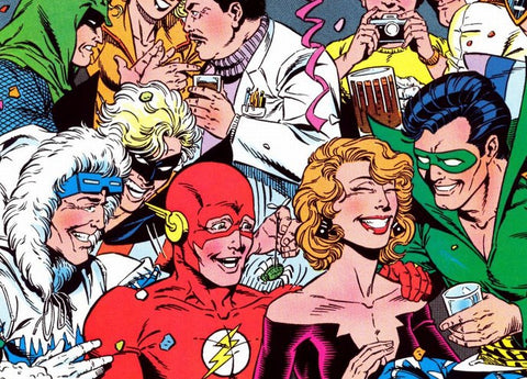 Image of popular comic book characters from DC Comics. This panel was drawn by William Messner-Loeb - Animated Apparel Company