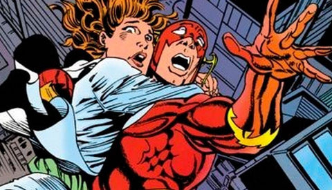 Flash saves a woman from falling. Drawn by William Messner-Loeb - Animated Apparel Company