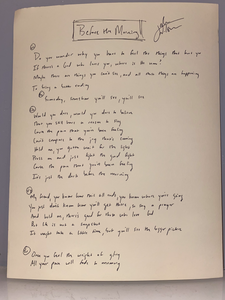 Personalized Lyric Sheet, Handwritten and Autographed by Josh Wilson