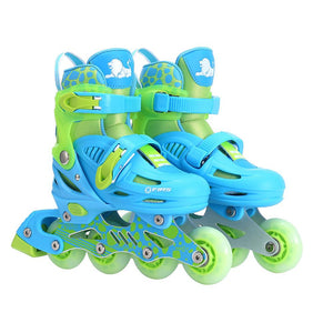 Cougar Kids Inline Roller Skate Set For Beginner [Blue] w/ Helmet and Protection Kit