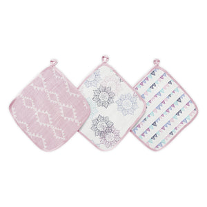 Aden pretty pink muslin washcloths 3-pack