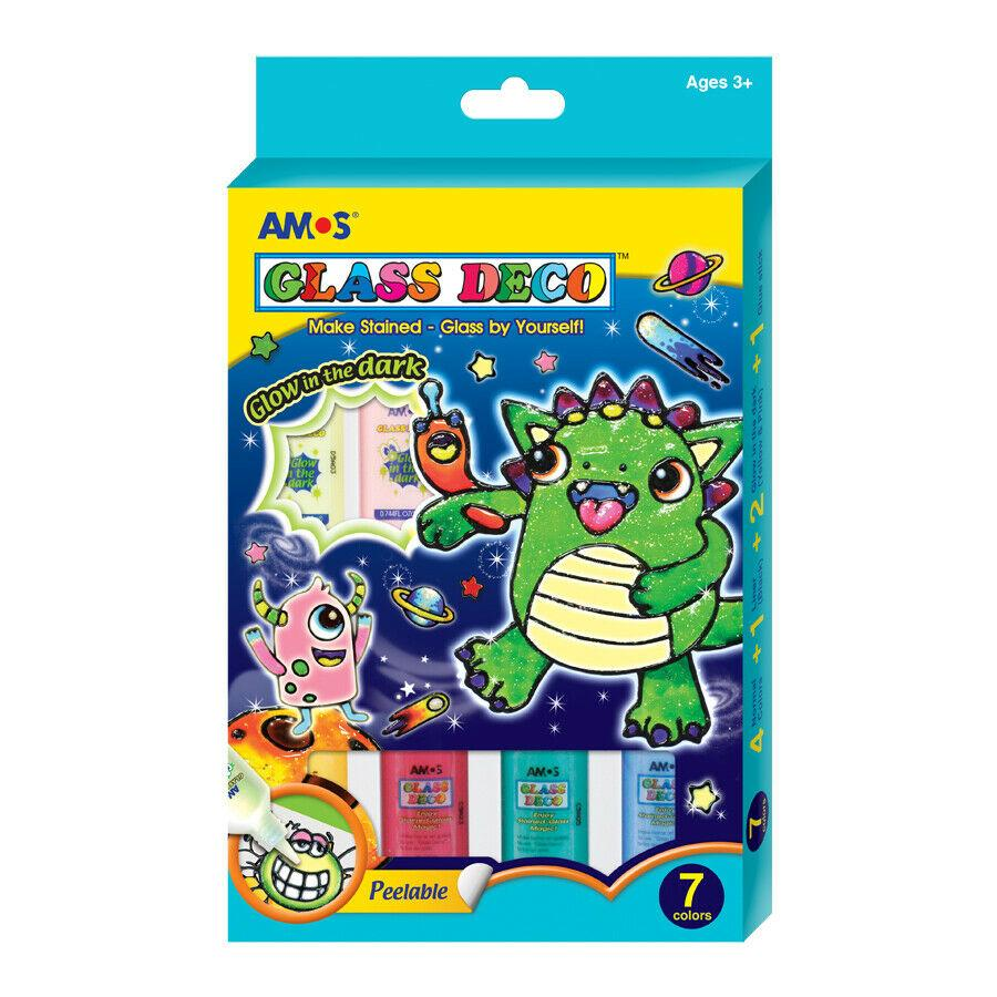 AMOS - GLASS DECO 22ML GLOW IN THE DARK 7 COLOUR