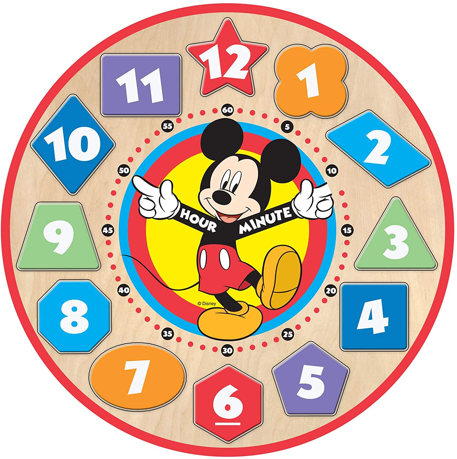 Melissa & Doug - Disney Mickey Mouse Wooden Shape Sorting Clock