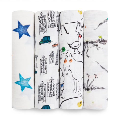 Aden + Anais: classic muslin swaddles 4-pack