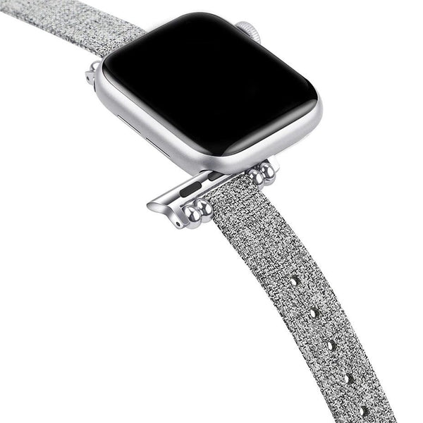 Canvas Light Grey Petit Slim | Armband für Apple Watch (Grau)
