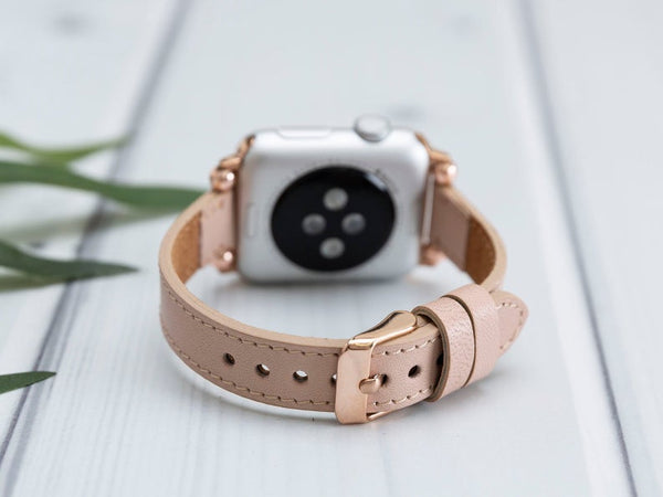 Petit Powder Pink Slim Lederarmband Damen Leder Band für Apple Watch 3, 4, 5. 40mm 44mm 38mm 42mm iWatch