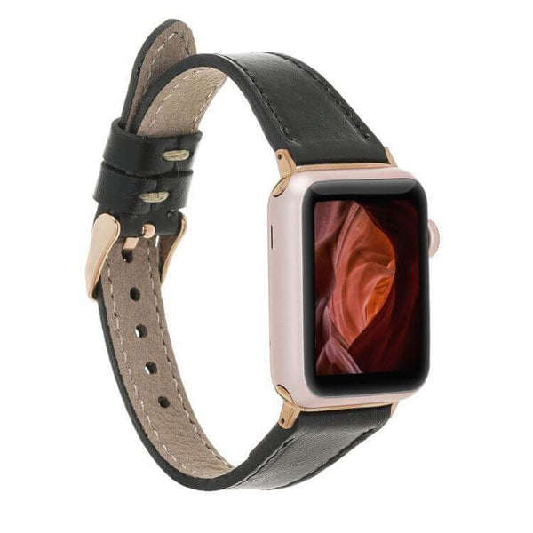 Absolute Black Slim | Lederarmband für Apple Watch (Schwarz)