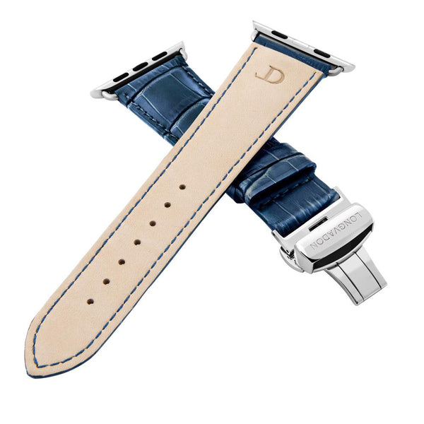 Alligator Navy Blue Geprägtes Lederarmband Leder Band für Apple Watch 3, 4, 5. 40mm 44mm 38mm 42mm iWatch