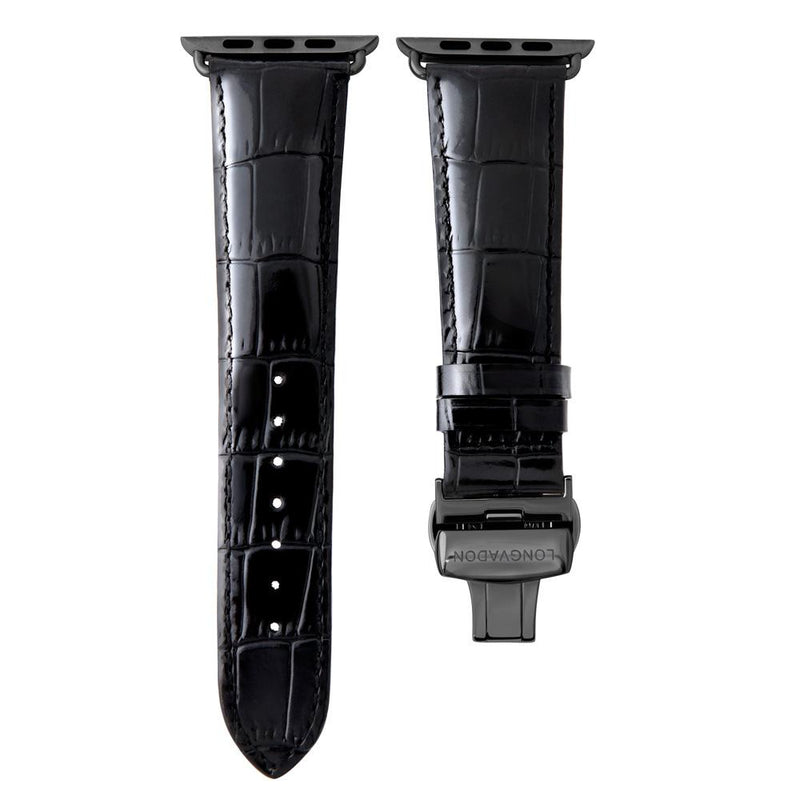 Lederarmband für Apple Watch Schwarz Gepraegtes Alligator Series 2, Series 3, Series 4, Series 5 38mm 40mm 42mm 44mm