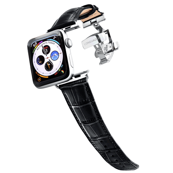 Alligator Midnight Black Geprägtes Lederarmband Leder Band für Apple Watch 3, 4, 5. 40mm 44mm 38mm 42mm iWatch