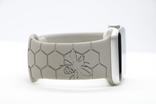 Light Grey Engraved Silikon | Armband mit verschiedenen Mustern für Apple Watch (Grau)