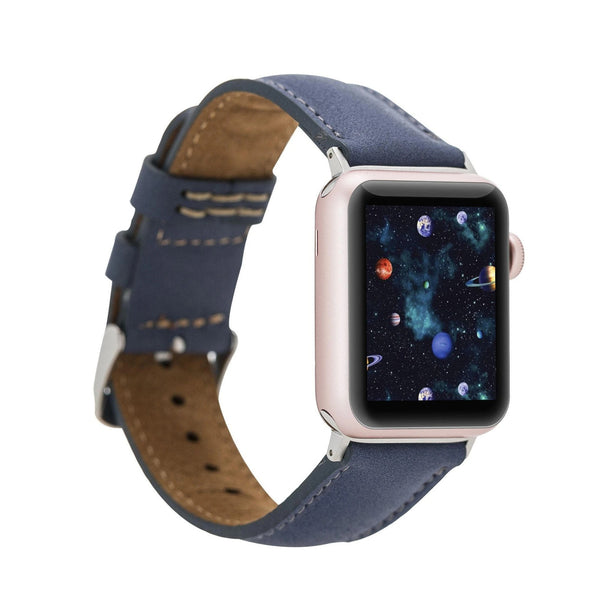 Blue Classic | Lederarmband für Apple Watch (Blau)