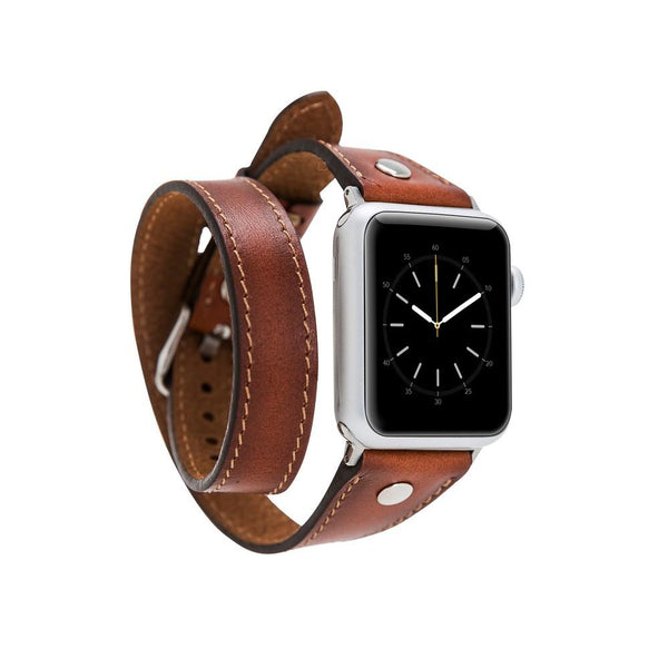 lederarmband für apple watch braun brown burnished slim double trouble awab passend zu Serien 2, 3, 4, 5, 38mm 40mm 42mm 44mm