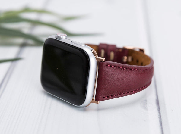 Bordeaux Slim Lederarmband Damen Leder Band für Apple Watch 3, 4, 5. 40mm 44mm 38mm 42mm iWatch