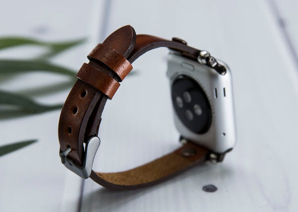 Lederarmband für Apple Watch Braun Series 2, Series 3, Series 4, Series 5 38mm 40mm 42mm 44mm