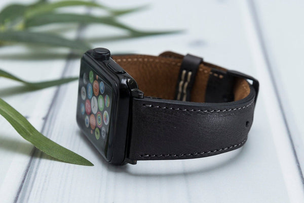 Lederarmband für Apple Watch Grau Series 2, Series 3, Series 4, Series 5 38mm 40mm 42mm 44mm