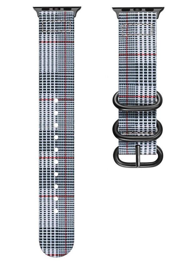 Sport Loop Armband für Apple Watch Double Buckle Tartan Weiss Muster Series 3 Series 4 Series 5 38mm 40mm 42mm 44mm