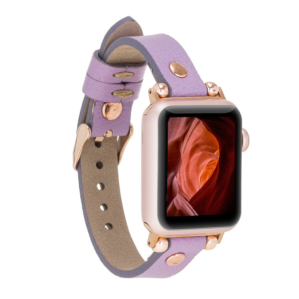 Lavender Petit Gold Rivet Slim | Lederarmband für Apple Watch (Lila)