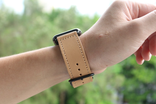 Vintage Retro Beige Double Buckle | Lederarmband für Apple Watch (Beige)