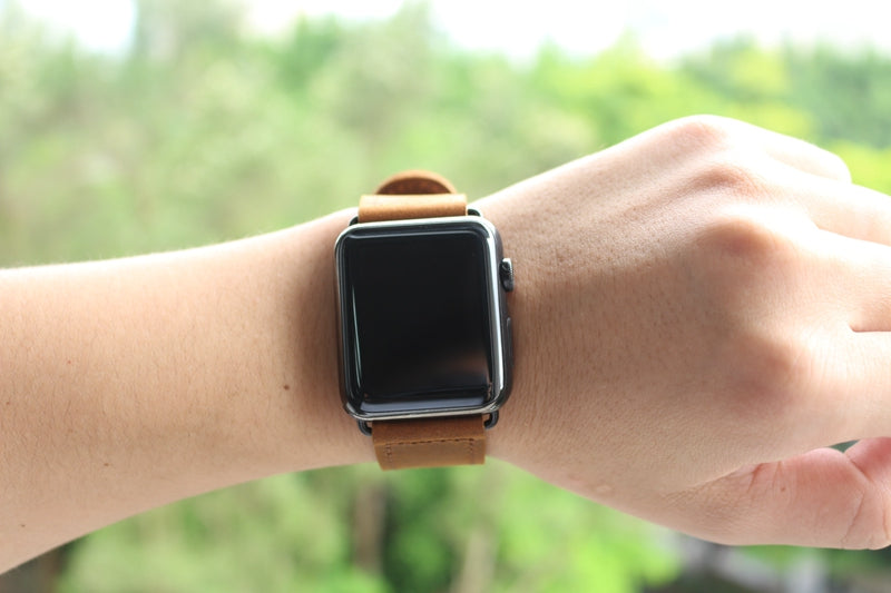 Vintage Retro Brown Double Buckle | Lederarmband für Apple Watch (Braun)