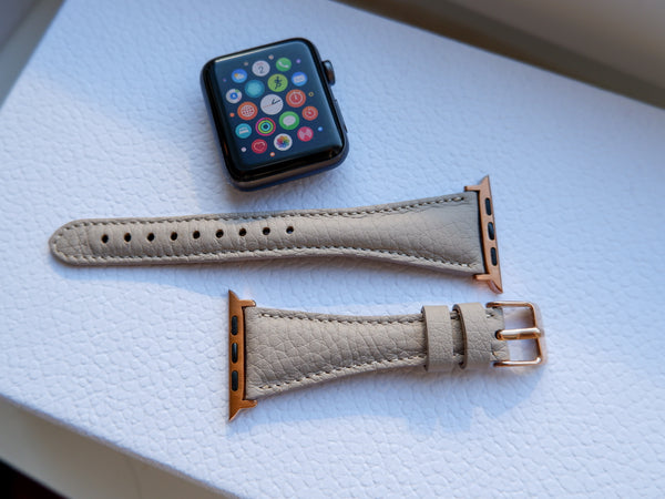 Grey Beige Slim | Lederarmband für Apple Watch (Grau)