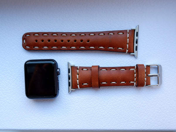 Burnished Brown Classic | Lederarmband mit Kontrastnähten für Apple Watch (Braun)