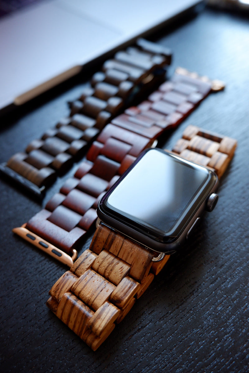 Armband für Apple Watch Zebraholz Series 1, Series 2, Series 3, Series 4, Series 5 38mm 40mm 42mm 44mm