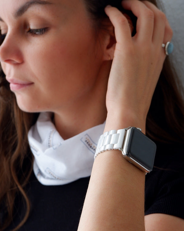 Shiny White Ceramic Classic | Armband für Apple Watch (Weiss)